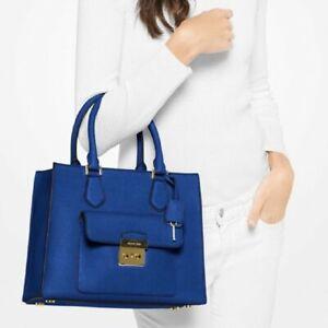 Michael Kors Bridgette Electric Blue Saffiano Leather Medium EW Tote Bag