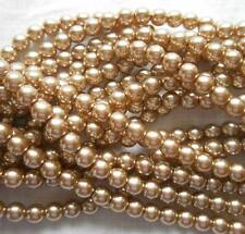 1 Strand 4mm Rose Brown Pearl Glass Pearls 216 Beads