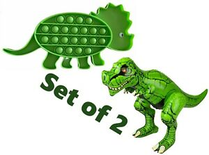 8''-10'' Green Dinosaur Bubble Popper & 24'' T-Rex Inflatable Dinosaur Toy