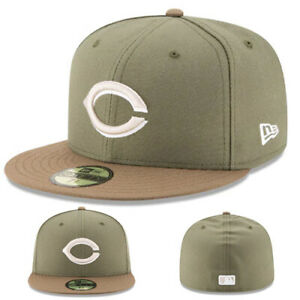 New Era Cincinnati Reds Fitted Hat Alt 2 Authentic Collection Olive Green Brown