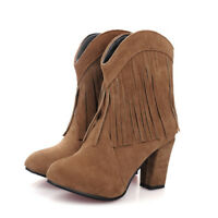 Women Suede Tassel Booties Block High Heel Round Toe Fashion Ankle Boots Pull on