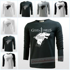 Game Of Thrones House Stark Wolf Men Cotton Long Sleeve Tee Tops Casual T-shirt