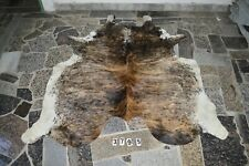 EXOTIC TRICOLOR!  Rug HAIR ON SKIN  Leather cowhide 3795--   72'' x  64''