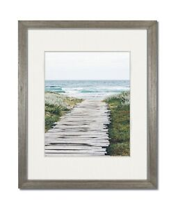 16X20 Light Grey Coastal Wood Picture Frame with Single White Mat for 12x16