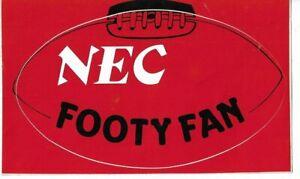 NEC FOOTY FAN  STICKER RUGBY LEAGUE AFL VFL