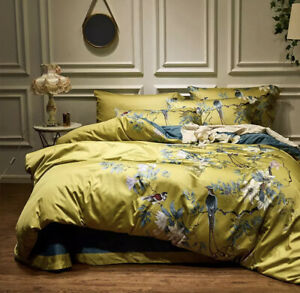 Luxury Egyptian Cotton Double Bed Duvet Pastoral Birds Bedding Set