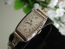 1930's Ladies Art Deco Enamel Gruen Watch ~ Filigree Band ~ Runs