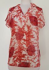 ZARA BASIC Red/White Floral Top Size EUR XS