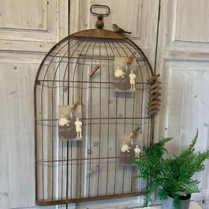 Large Metal Bird Cage Memo Peg Board Photo Vintage Chic Antique French Country