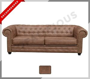 NEW SOFA BED Astor Chesterfield 3 SEATER SOFA Bed Distressed Brown Suede Leather