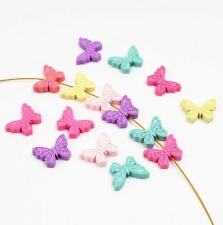 50X Butterfly Wood Beads Mix Color Spacer Baby Pacifier Clip Jewelry Making DIY