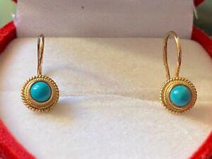 Gold 585 russische Ohrringe mit Türkisen, zus. ca. 1,31 gr., aus Nachlaß