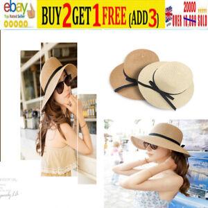 Summer Wide Brim Straw Hat Floppy Women Ladies Derby Beach Sun Foldable Cap