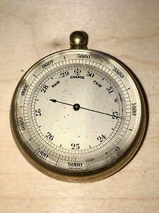 Antique Gilt Brass Pocket Barometer