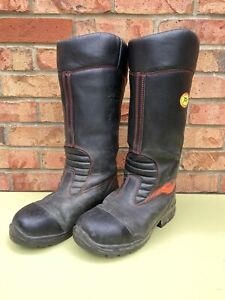 Ex Fire & Rescue Jolly Fire Firefighter Safety Leather Rigger Boots Waterproo...