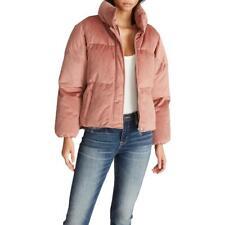 Vigoss Women's Velvet Quilted Short Winter Puffer Coat with Stand Collar