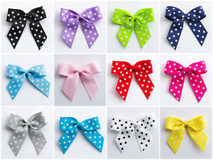 5cm Polka Dot Grosgrain Bows Self Adhesive - 12 pack Crafts Wedding Favours