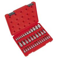 """Sealey TRX-Star* Socket & Security Socket Bit Set 38pc 1/4"""", 3/8"""" & 1/2""""Sq Drive"""