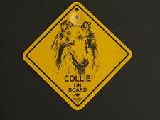Collie On Board Dog Breed Yellow Car Swing Sign Gift