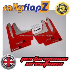 Rally Mudflaps Honda Civic Type R (01-07)Mud Flaps Red Logo Silver/Black 4mm PVC