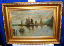 HARBOUR SCENE HOLLAND 1909 SIGNED OIL - WOW! -price lowered
