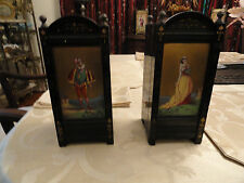 Pr of 19th Century Slate Clock Garniture/ Vases: Enameled Painted Scences: VGC