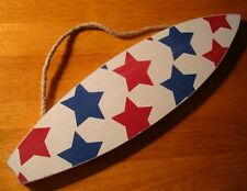 NAUTICAL RED WHITE & BLUE STARS SURFBOARD Surfing Beach Home Decor Sign NEW