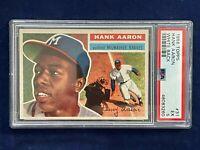 🔥👀1956 Topps #31 Hank Aaron White Back PSA EX5 Milwaukee Braves Sweet Card! 👀