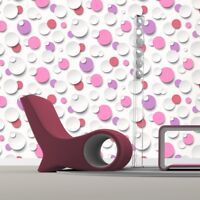 3D Wallpaper Bubbles Modern  Round Textured Vinyl White Pink Purple Muriva