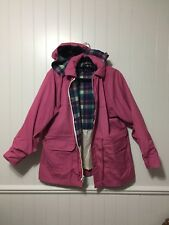 RARE Vintage Woolrich Pink Plaid Wool Lined Parka Coat Jacket Small EUC Spring
