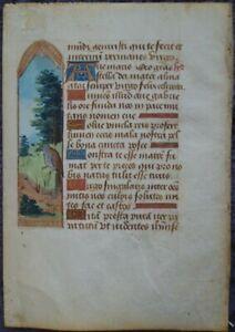 2 MINIATUREN STUNDENBUCH BLATT PERGAMENT GOLD + FARBEN PARIS 1480 AD #C126