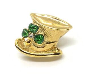 St. Patrick's Day IRISH Shamrock Clover Leprechaun Hat Signed AVON Brooch Pin