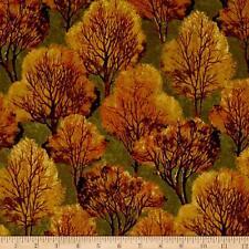 Andover Quail Trees Cotton Fabric  Autumn Orange  By the Yard Bfab