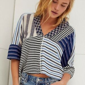 New FREE PEOPLE The Stripe Is Right Mixed Blue Print Top X-Size Small Free Post