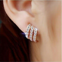 Silver/Rose Gold Angel Wings White Sapphire-Studded Stud Earrings S4C5