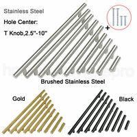 "Modern Stainless Steel Cabinet Door Handles Drawer Pulls Knobs T Bar ∅1/2"" Tube"