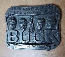 "Vintage Buck Knife Company Belt Buckle ""Four Generations of Knife Makers"""