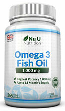 Omega 3 Fish Oil 1000mg 365 Softgels Omega 3 DHA + EPA 100% MONEY BACK by Nu U