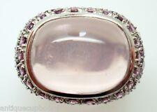 14k White Gold Pink Genuine Natural Tourmaline and Rose Quartz Ring (#J2976)