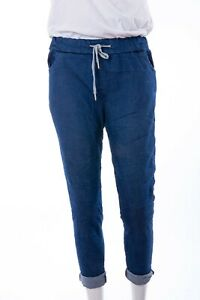 Italian Lagenlook  Stretch Magic Trousers Joggers BLUE DENIM  Size 16-20