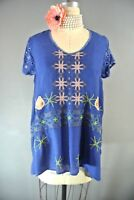 Johnny Was Wilson Tunic Top S Blue Floral Embroidered Blouse Boho Casual NWT