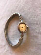Vintage Hamilton 7 Jewels Ladies Silver Tone Stretch Band Wind Up Watch