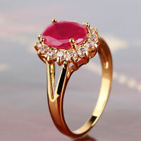 Gorgeous 24k gold filled hot design ruby amazing woman good ring Sz5/J-Sz9/R