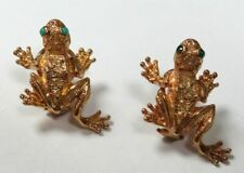 DESIGNER KURT WAYNE 18K YELLOW GOLD FROGS WITH EMERALD EYE EARRINGS