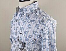Men FENDER Rock & Roll Religion Shirt Size XL Long Sleeve Skull Print Rockbilly