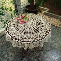 Hand Crochet Cotton Lace Doily Table Topper Round White TableCloth Cover 31inch
