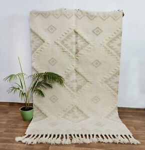 Ivory Grey Hand Woven Moroccan Inspired Bohemian, Boho Rug White Cream #AS-4