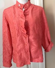 CHICO'S Size 2 Medium CORAL Crinkle Nylon/Polyester Jacket Ruffle Front