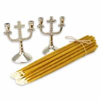 Set of 2 Silver Candlestick Holders Cross + 20pcs Pure Beeswax Orthodox Candles