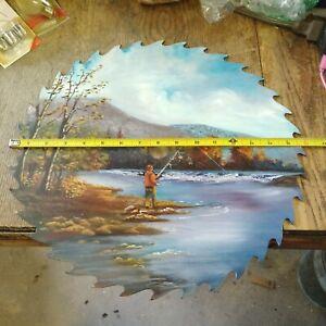 "16"" LARGE VINTAGE SAWBLADE ART--BEAUTIFUL--AWESOME SUBJECT MATTER--FREE SHIPPING"